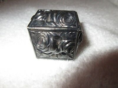 Antique Repousse Silver Rose Floral Pill Trinket Box Case Gilt Portugal? Superb!