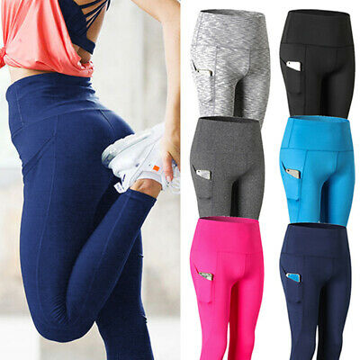 Womens High Waist Yoga Leggings Pocket Fitness Sport Gym Workout Athletic Pants