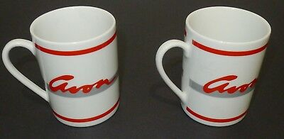 Lot of 2  white vintage AVON  coffee mugs cups    - in excellent condition