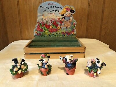 Mary's Moo Moos Set of 4 Sowing the Seeds of Friendship Collection Cow Figurines