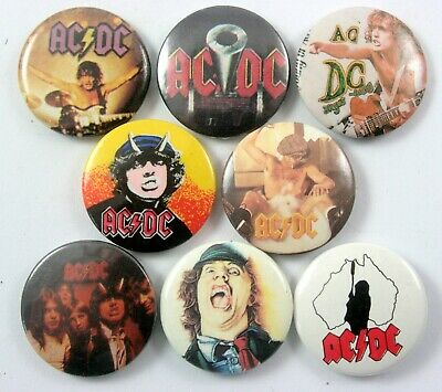 AC/DC BUTTON BADGES 8 x Vintage AC/DC Pin Badges * Angus Young *