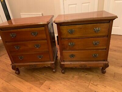 Matching Pair of Large Solid Oak French Style Bedside Cabinets