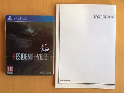 Resident Evil 2 Collectors Edition RPD Poster + RE2 Steelbook + Game + DLC, NEW.