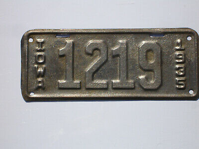 Iowa 1935 motorcycle license plate,tag,Harley,Indian