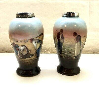 Pair Of Silver Topped Vases Printed People Design 1909
