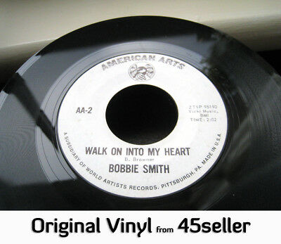 ♚ BOBBIE SMITH promo 'Walk On Into My Heart' RARE no lines Northern Soul 45 HEAR