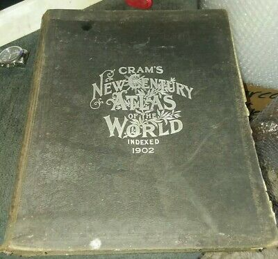 Antique 1902 Crams New Century World Atlas Book Indexed, Lots Of Maps, Rare