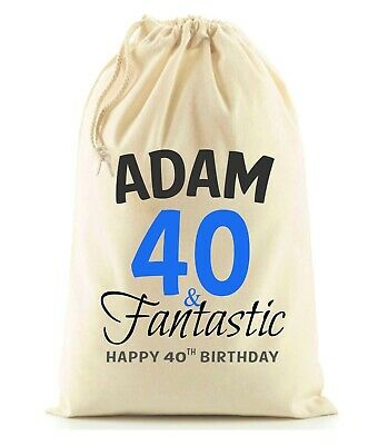 PERSONALISED 30th 40th 50th 60th BIRTHDAY GIFT BAG SACK Various Sizes 21st