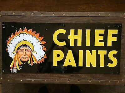 "Chief Paints Vintage Original Double-Sided Advertising Metal Sign 28"" X 12"""