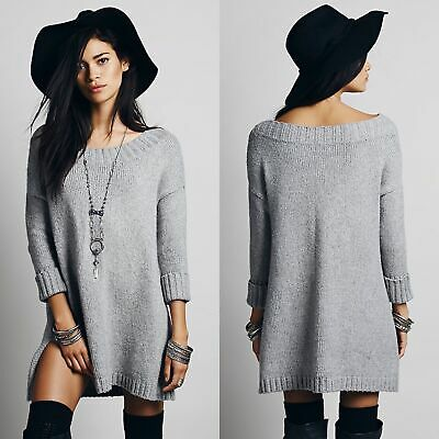 Free People 'On a Roll' Off-the-Shoulder Soft Sweater Tunic Dress Grey Size XS
