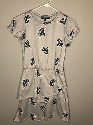 fc68a3a7e23b Three Pink Hearts - Girl s Grey Short Sleeve Tiered Dress w  Cactus Pattern  -16