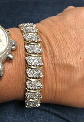 9.00 ct.Diamond Cluster Wide S-Tennis Line Bracelet In 14K Yellow Gold Over