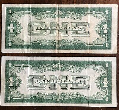 LOT OF 2- 1928 SILVER CERTIFICATE *FUNNY BACK NOTES* Old US Currency Low Grade
