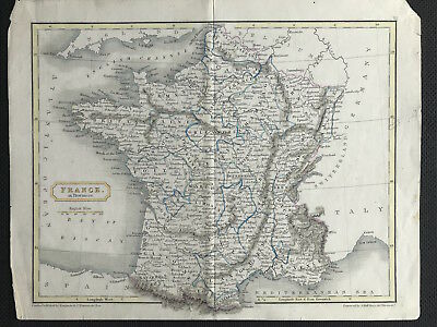 Antique Map FRANCE c1834 by Sidney Hall, original, engraved, outline color