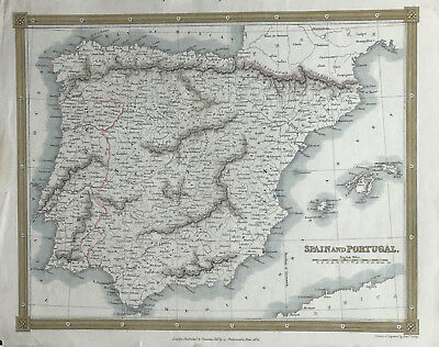 Antique Map SPAIN & PORTUGAL c1834 Thomas Kelly original engraved outline color
