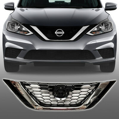 Fit For 2016 2018 Nissan Sentra Front Upper Hood Grill Gloss Black Chrome Grille