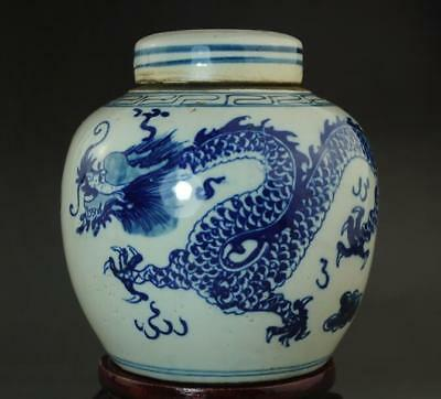 chinese old collection blue and white porcelain hand painted dragon pot