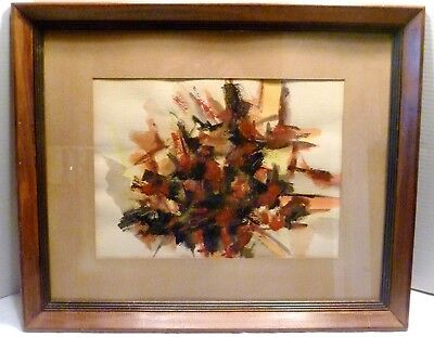 1962 BUCY Abstract EXPRESSIONIST Framed WATERCOLOR PAINTING Mid-Century MODERN