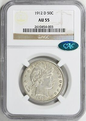1912-D NGC + CAC AU55 Barber Silver Half Dollar Type Coin About Uncirculated