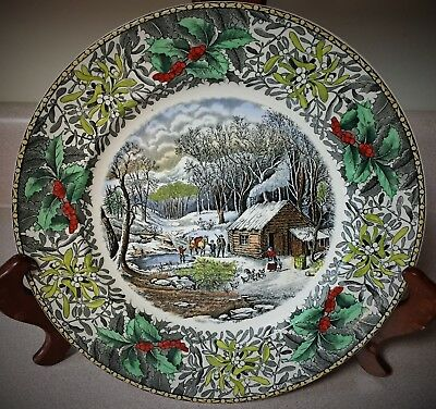"""Adams England """"winter Scenes"""" A Home In The Wilderness Collector Plate 10 1/2"""""""