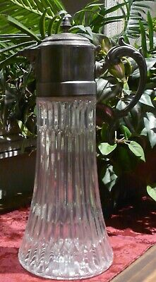 Antique Glass Pitcher, Vintage with Patina Silver Top and Handle