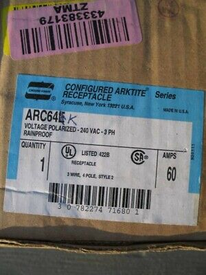Crouse Hinds ARC64K 60 amp receptacle body grounded ARKTITE NEW