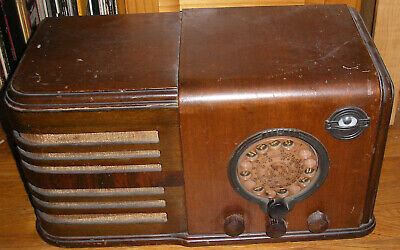 Vintage 1930's Airline teledial AM tube radio tuning eye - works