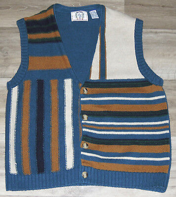 VTG Sears Roebuck Button Down Sweater Vest Hipster Grunge 1990s Style Ramie Sz L