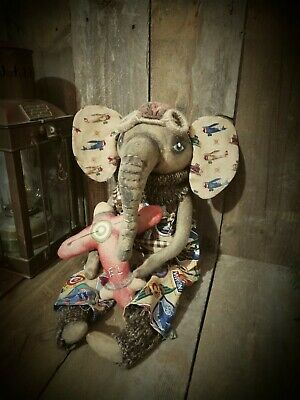 Primitive Elephant Boy Doll Sitter Decoration Collectible