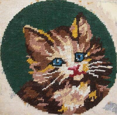 "Vintage completed cotton Royal Paris needlepoint embroidery tapestry cat 7""D"