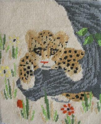"Vintage Completed needlepoint jaguar cub on a tree 11.7""x9.8"""