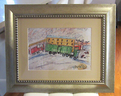 "Purvis Young - ""Trains, Trucks"" - Hand Signed Litho Print - Framed Listed COA"