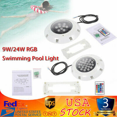 Underwater LED Swimming Pool Light Fountain RGB Lamp Remote Control 9W/24W IP68