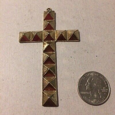 Nice Big Gold Tone Cross Pendant Textured Religious Jesus Piece For A Necklace