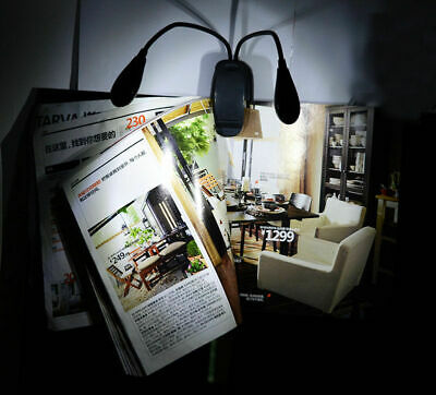 2 Dual Arms 4 LED Flexible Light Black Clip-on Book Music Stand Lamp