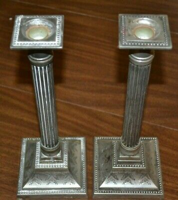 Old pair of ELEGANCE Silver Plated Zinc Candlesticks  ornate