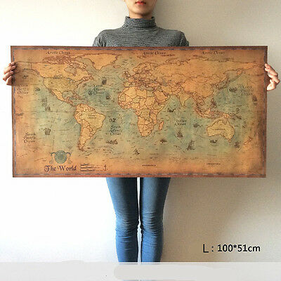 World Map Poster Vintage Wall Sticker Large Retro Print Paper Home Office Decor