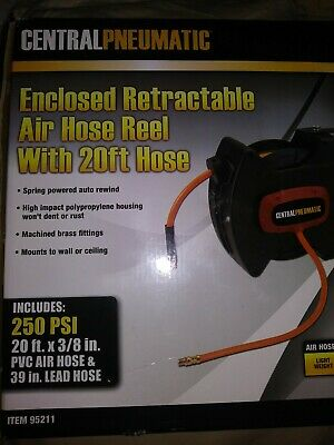 "CentralPneumatic Enclosed Retractable Air Hose Reel 250psi 3/8"" X 20ft Brand New"