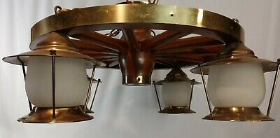 "Vintage c1950s 24"" 4 Light Wagon Wheel Chandelier Wood & Brass"