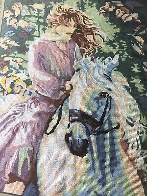 Vintage Large Diamant Tapestry - C 939 - Beautifully Worked - Girl On Horse