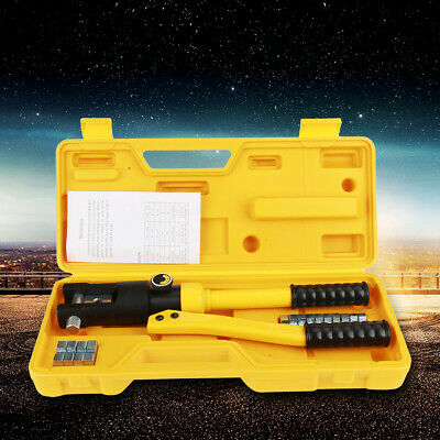 10T Hydraulic Wire Cable Battery Lug Crimper Terminal Crimping Tools & 7 Dies