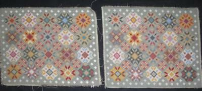 """2 Vintage Completed wool needlepoint flowers 17""""x13"""" each"""