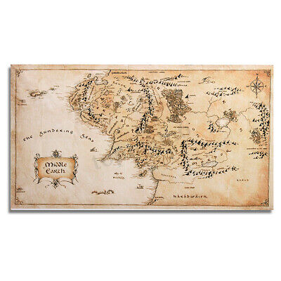 110x60cm West Middle Earth Map Silk Cloth Poster Home Office Art Print Decor