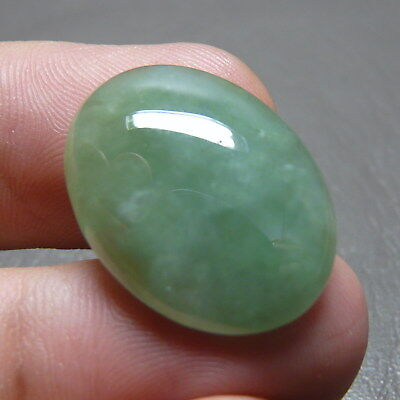 19.35 ct Genuine Jadeite Jade (Type A) Light Green-White Cloud Texture Cabochon