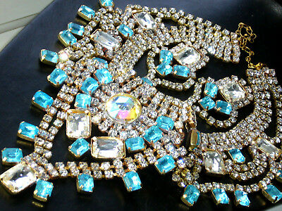 1960s JAW DROPPING AB *NECKLACE* SET BIB VINTAGE GLASS SIGNED BIJOUX MG  M16
