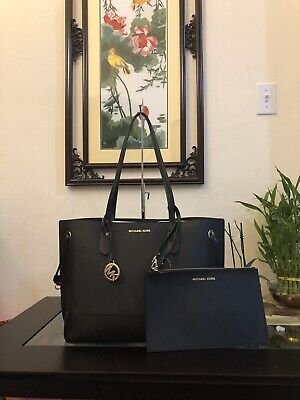 17a45167872757 NWT Michael Kors TRISTA Large Drawstring Tote Black Leather Bag with Pouch