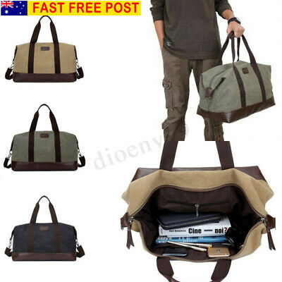 AU Men Large Canvas Handbag Gym Travel Shoulder Sports Bag Duffle Luggage Tote