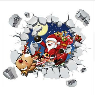 3D Santa Claus Window Wall Decal Sticker Christmas Party Home Decoration TO