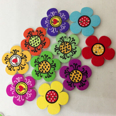 100Pcs Wood Buttons Multicolor Flower Shape Sewing Accessories Scrapbook Crafts