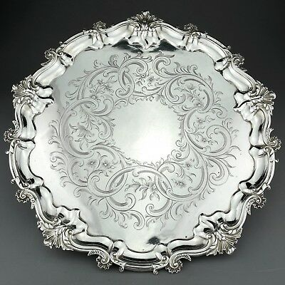 Large Antique Victorian Solid Sterling Silver Salver / Tray. London 1843. 975g